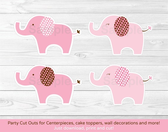 Pink Elephant Cut Outs Elephant Baby Shower Baby Shower