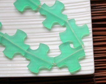 Green Cross Resin Beads, Large Aqua Green Resin Cross Beads (3) 30mm