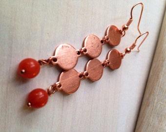 Handmade Jewelry Chime Orange Golden Dangle Earrings Long Copper Earrings Handcrafted USA Bohemian Rustic Earthy Jewelry Fashion Accessories