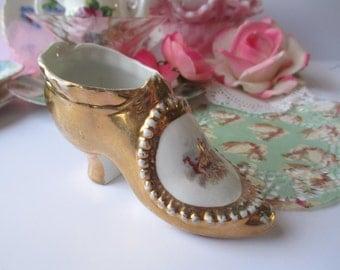 Whimsical Vintage Gold Porcelain Cherub Slipper
