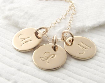 Solid 14k Gold Triple Initial Necklace Gold Mother Necklace Personalized Jewelry Personalized Necklace Fine Jewelry Mother's Day Gift