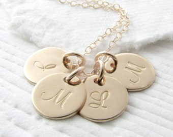 14 Gold Initial Necklace Solid Gold Initial Jewelry Personalized Necklace Gold Personalized Jewelry Mother Necklace Mother's Day Gift
