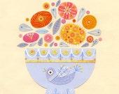 Birdie Bouquet Print 8.5 x 11