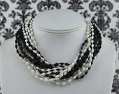 vintage 1960s black and white multi strand cocktail party necklace - choker, beaded, geometric, statement