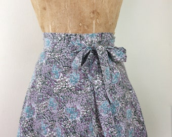 1970s wildflower wrap skirt - taupe teal + violet, floral, chintz, cotton, boho chic - vintage size 5,  small to medium