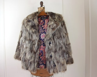 1970s shaggy fur coat with psychedelic  lining - raccoon, light + dark, 70s jacket, shades of brown, MOD, rocker, glam - size small, medium