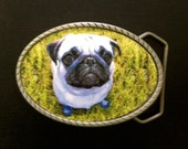 Pug Belt Buckle.  Interchangeable.  Mens and Womens belt buckle.  Cutest pug!  Great gift for pet or animal lover.  Recycled belts too!