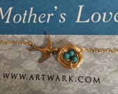 Mothers love II gold vintage bird nesting eggs basket woven turquoise sparrow love baby mother mom pregnancy necklace boho original