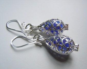 Blue Sea Glass Earrings Beach Glass Locket Earrings