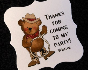 20 Birthday Party Favor Tags - Personalized Boy's Birthday Favor Tags - Teddy Cowboy Favor Tags  - 2 x 2 Personalized Tags