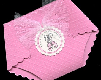 50 Personalized Baby Girl Baby Shower Invitations - Baby Girl Shower Invitations - Diaper Invitations - Pink Ballet Slippers