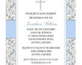 ELEGANT BAPTISM INVITATION for Boy / Personalized Gray and Blue Damask Invitation for Baptism / Beautiful Boys Baptism Invitation