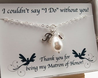 Matron of Honor Gift - Be My Maid of Honor Gift - Pearl Necklace - Personalized Gift - Asking Matron of Honor - R Initial Necklace