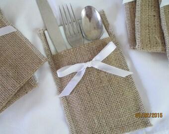 Burlap and Ribbon Cutlery Holder  Weddings  Events  Dinner Parties  Burlap and Satin 100 Cutlery Holders  Silverware Sleeves