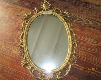 Vintage Syroco Mirror   1960's  Oval  Designer Piece  Gilded