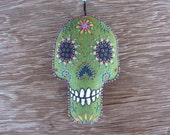 Green Calavera-felt ornament