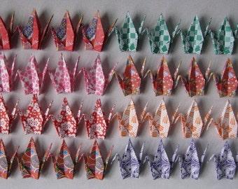 "40 Small Washi Chiyogami Cranes - 8 Designs, 3"" (7.5cm) Washi Chiyogami, Origami Paper Cranes, Crane Bird, Place Card, Handmade, Kawaii"