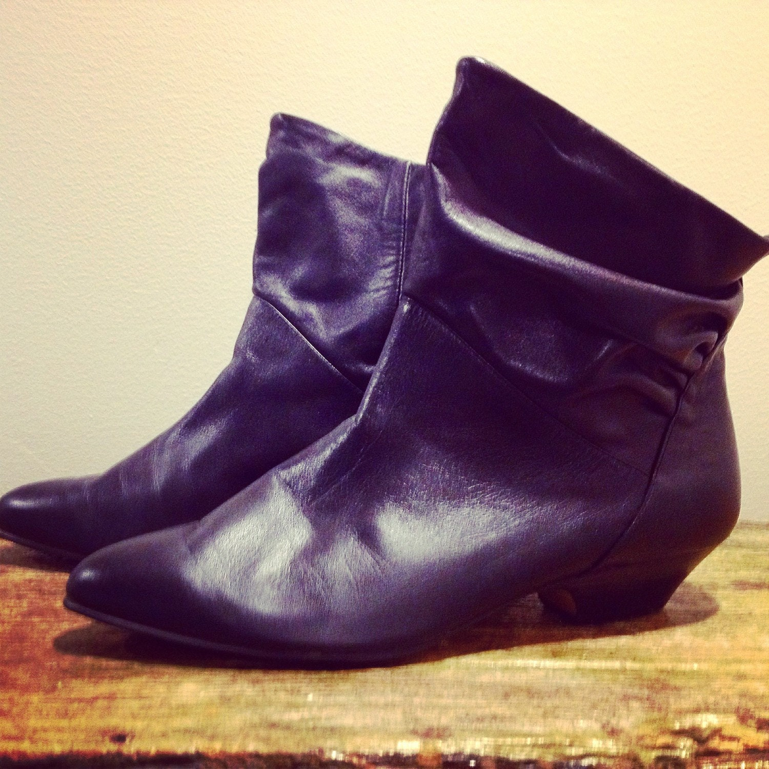 vintage leather boots s ankle boots black 80 s