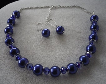 SALE Dark or Navy Blue Pearls with Crystals Necklace and Complimentary Earrings