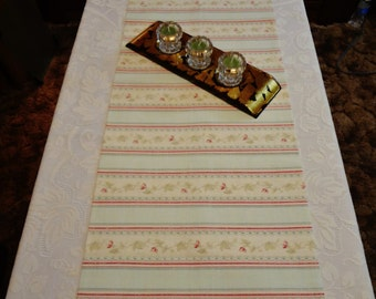 "TABLE RUNNER - Mint Green Stripe with Pink, Rose & Green Floral - 48"" x 16"" - Item TR515500"