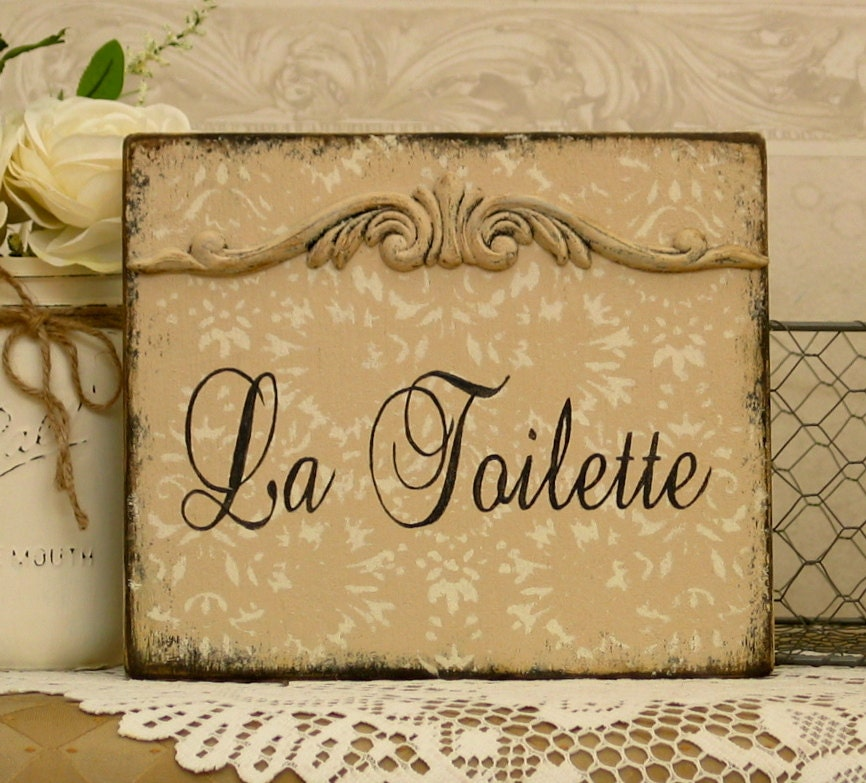 la toilette sign french bath sign vintage styled by signsbydiane. Black Bedroom Furniture Sets. Home Design Ideas