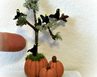 Miniature Pumpkins with a Twig Tree and Five Wee Tiny Hand Sculpted  Black Birds 12th Scale Handmade Sculpture Dollhouse Halloween Decor