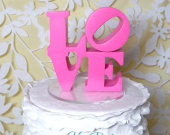 Hot Pink love cake topper ready to ship