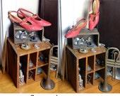 Vintage 60's red leather kitten heel pumps shoes high heel t strap slingback Socialites pointy toe mod pinup secretary schoolgirl W US SHIP