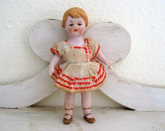 Antique German Dollhouse Bisque Little Sister Doll in Original Dress Peach Ribbon Rose