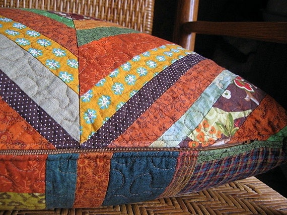 RESERVED for Susan - kaleidoscope quilted reversible pillow cover, Fall decor, Autumn warmth - echo no. 42 -  20x20