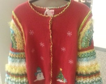Snowman's Christmas Party Sweater, Little Girl, Size L 10 - 12