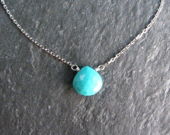 "Turquoise Necklace - Light Aqua Blue Arizona Turquoise Short Layering Necklace - 15.5-16.5"" - Dainty Silver Chain Pendant - Modern Romance"