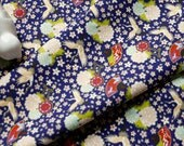 3916 - Japanese Chrysanthemum Crane Fan Floral Cotton Fabric - 44 Inch (Width) x 1/2 Yard (Length)