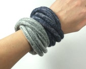 Pewter Felted Bracelet Twisted Grey Navy Multicolor Modern Fiber Art Yoga OOAK - Made to Order