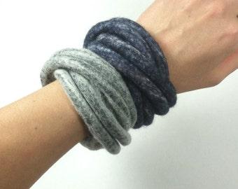 Felted Bracelet Twisted Grey Navy Multicolor Modern Fiber Art Yoga OOAK - Pewter - Made to Order