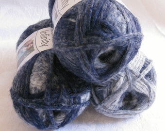 Boutique Infinity yarn in DENIM blue,  bulky weight yarn, Red Heart Boutique,  metallic, blue jean shades