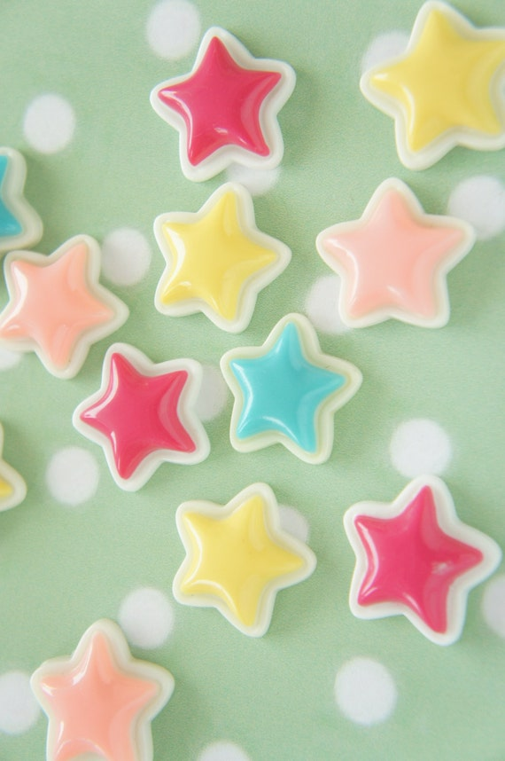 SALE 7 yellow 6 salmon pink Colorful Star Cabochon(23mm) DR175 (((LAST)))