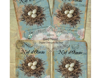 INSTANT DOWNLOAD -  Bird Nest - 3.5 X 5  -  Printable Digital Collage Sheet - Digital Download