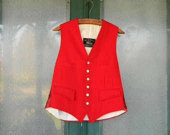 West of England Cloth by Strachan Red Felt and Satin Men's Fancy Dress Vest