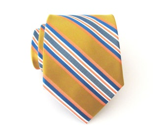 Yellow Tie. Mens Tie. Mustard Yellow Blue Orange Stripes Mens Tie With Matching Pocket Square Option