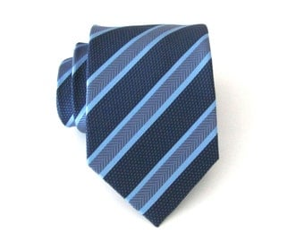 Blue Tie. Navy Blue Periwinkle Blue Stripes Silk Tie