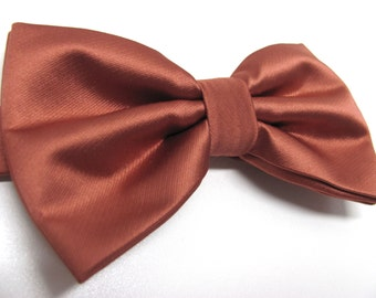 Mens Bowtie. Copper Brown Bowties. Copper Bow tie With Matching Pocket Square Option