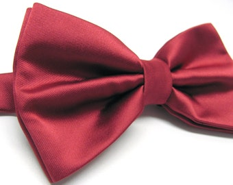 Mens Bowtie. Red Bowtie With Matching Pocket Square Option