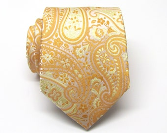 Mens Tie. Peach and Yellow Paisley Men's Tie. Necktie
