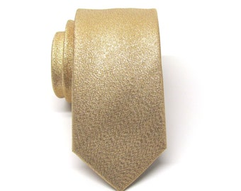 Mens Ties Necktie Metallic Lamé Gold Metallic Skinny Tie