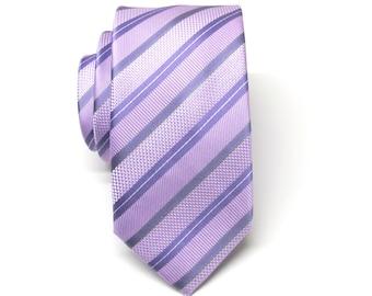 Mens Ties Lavender and Purple Stripes Skinny Necktie