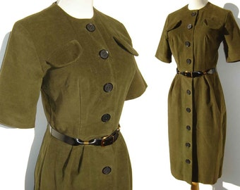 Vintage 60s Secretary Dress Mod Green Olive Cotton Velvet M