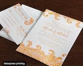 Sneha Letterpress or Digital Wedding Invitations - Set of 100