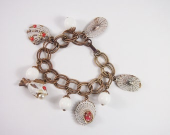 Enamel Wash Fish and Shell Charm Bracelet Vintage 60s 70s Jewelry