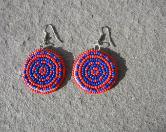 Red and Blue Beaded Earrings